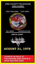 BLACK SABBATH / VAN HALEN - CONCERT LAMINATED POSTER ERIE COUNTY FIELDHOUSE 1978