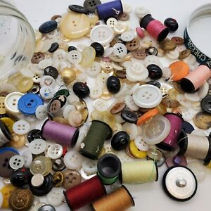 Lot Of Vintage Buttons and Thread In Jar Sewing Lot