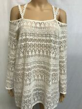 BOOHOO SIZE 8 GORGEOUS CREAM LACE MULTI STRAP BACK BOHO TUNIC  TOP