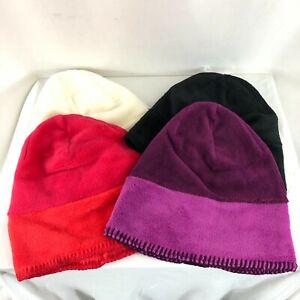 Lot of 4 White Sierra Fleece Beanies Black Purple Slouchy Warm Soft Youth L/XL