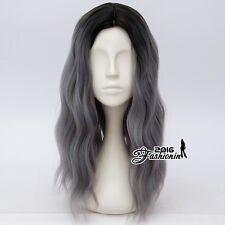 Lolita Ombre Black & Gray 55CM Long Curly Fluffy Cosplay Wig Heat Resistant+Cap