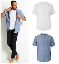 M&S Marks and Spencer Mens Blue Short Sleeve Linen Shirt Grandad Collar XXL