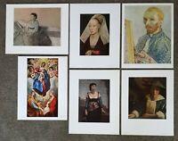 Lot 6 Vintage Art Prints Van Gogh El Greco Vermeer Corot Degas National Gallery