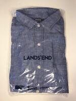 LANDS END Chambray Shirt IndigoTraditional Fit Mens Single Pocket Size M