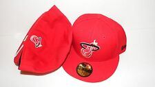 NEW ERA HAT CAP FITTED 59FIFTY MIAMI HEAT SIZE 7 3/8 RED