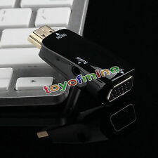 BLack HDMI Male To VGA Female Converter Box Adapter With Audio Cable For PC HDTV