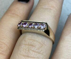 Natural Diamond Pink Sapphire Ring 14k Yellow Gold Fine Jewelry Wedding Bands