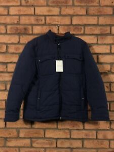 Cole Haan Mens Puffer Jacket Concealed Hood L Blue GENUINE NWT NEW