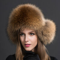 Women Real Raccoon Fur Hat Russian Winter Warmer Ear Cap Ushanka Cossack Warmth