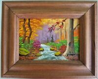 Signed Oil Painting Tennessee Landscape Wood Stream Iva Prince Canvas Panel