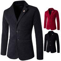 Mens Wool Blend Slim Fit  Leisure Blazers Suit Jacket Coat Outwear Plus Size New