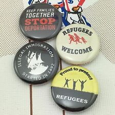 "Refugees 1"" buttons badges Donald Trump Immigration No Wall Liberal"