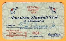 1948 PHI A'S SEASON PASS/TICKET-PAT SEEREY 4 HRS/TED WILLIAMS HR #200