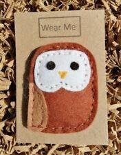 A Cute Handmade Brown Felt Owl brooch - 6cm tall on card for gift