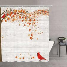 Fall Maple Leaves Cardinal Red Bird Waterproof Fabric Shower Curtain Bath Decor