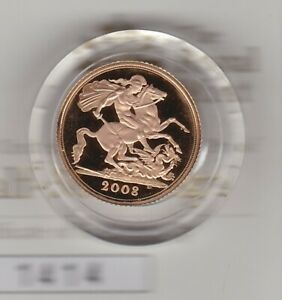2008 GOLD PROOF HALF SOVEREIGN WITH CERTIFICATE & CAPSULE IN MINT CONDITION.