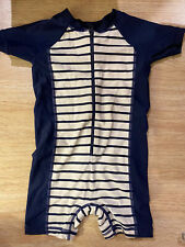 (ee95) hanna andersson 85 Navy White Striped Rashguard Short Sleeve One Piece