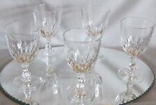 Jolie série de 5 verres à vin cristal d'Arques cristal taillé modèle Luxembourg