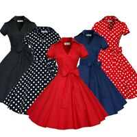 Womens Vintage Dress 50s 60s Swing Party Cocktail Ball Housewife Pin Up Fashion