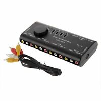 4 in 1 Out AV RCA Switch Box Audio Video Signal Switcher Splitter 4 Way Selector