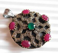 13.80Gm big size Emerald , Ruby Pendant 925 Solid Sterling Silver Two Tone K1411