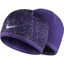 release date 3a94a 2bafc Nike RUN Women s Reversible Beanie Purple Purple Black Animal Print Sz OS