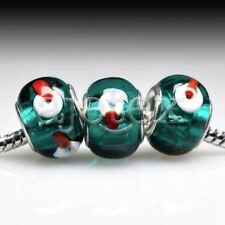 5pcs Hot Silver Murano Glass Lampwork Beads Fit European Bracelet LB0110