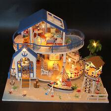 DIY Kits Wooden Miniature LED Dollhouse Sea Villa Dolls House w/ Furniture Model