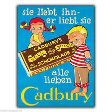 Metal Sign Wall Plaque Cadbury German Print Retro Vintage Poster Advert 1920's
