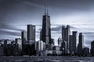 Chicago City Skyline Photo Art Print Poster 24x36 inch