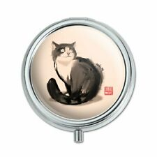 Cat Traditional Chinese Ink Painting Pill Case Trinket Gift Box