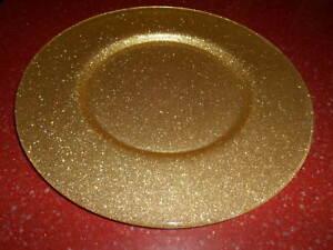 "3pc Gold Glitter Glass Charger Plate Platter 13.25"""