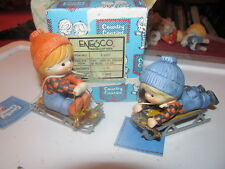 Enesco Country Cousins Katie & Scooter on sleds