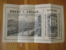 1884 antique CITY VIEW Reading PA Henry J Rhoads Penn St litho drawing Meissner