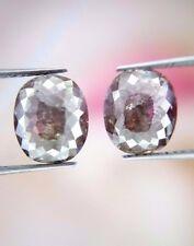 Big 4.14TCW Salt Pepper Oval Rose cut Antique African Natural Loose Diamond Pair