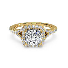 1.10 Ct Cushion Cut Diamond Engagement Ring 14K Solid Yellow Gold Rings Size N O