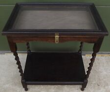 VINTAGE 1930s OAK BARLEY-TWIST DISPLAY TABLE VITRINE (LATER ALTERATIONS)