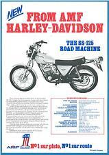 ORIGINAL Prospectus Publicitaire AMF HARLEY DAVIDSON 125 SS Catalogue Français