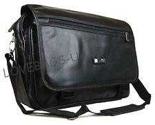 "Quality 15"" 17"" Laptop Faux Leather Pilot Business Executive Briefcase Carry Bag"