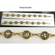 Damascene Gold Link Bracelet Round Dove of Peace Design by Midas of Toledo Spain