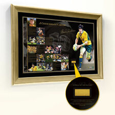 STEPHEN LARKHAM SIGNED FRAMED PIECE OF THE ACTION PRINT