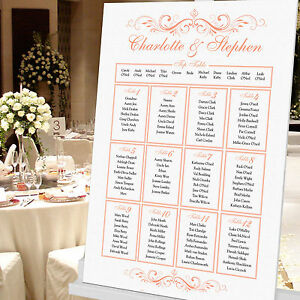 Personalised Wedding Seating Table Plan ~Canvas~Board~Paper Box Scrolls Design