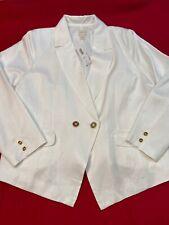 Chicos 3 White Linen Blend Blazer Size XL