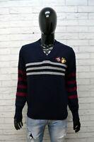 Maglione Uomo Henry Cotton's Taglia L Pullover Sweater Cardigan Lana Blu Man