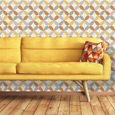 Retro Geometric Wallpaper Vintage Funky Bold Vibrant Orange Yellow Arthouse