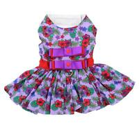 Doggie Design Purple and Red Floral Designer Dog Dress with Matching Leash XS-L