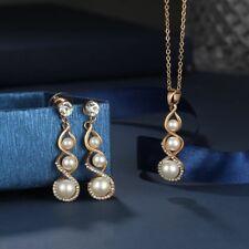 PEARL DROP LONG EARRINGS NECKLACE SET WOMEN ELEGANT GOLD UK STOCK