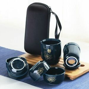 Chinese Ceramic Porcelain Tea Set Portable Cups For Travel with Portable Bag