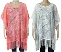 Marks and Spencer kaftan M&S lace fringed  beach cover up S - XL ivory coral NEW