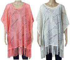 Marks and Spencer M&S lace fringed kaftan beach cover up S - XL ivory coral NEW